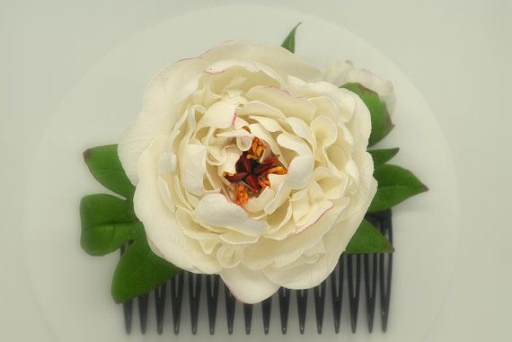 Comb peony  wedding Hair accessories Comb bride Bridal flowers white peony Bridesmaid bride hairpin flower Groom boutonniere Spring wedding