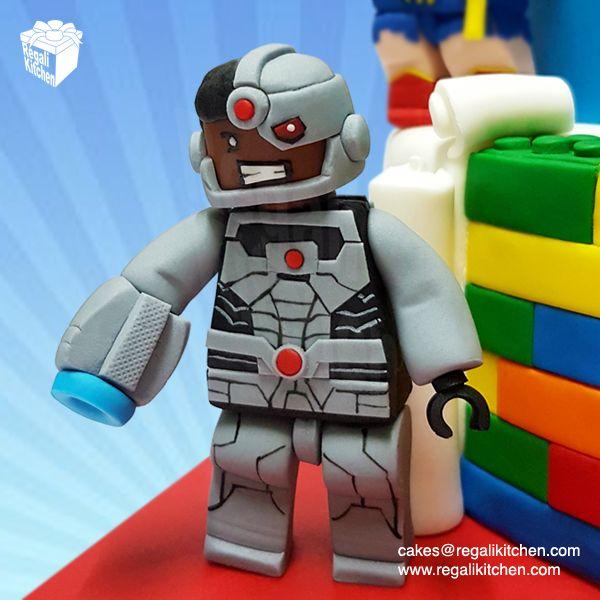 Lego Cyborg Cake Topper   Lego Justice League Cake   Geeky Lego JLA Cake   Superheroes Cake   Cakes by The Regali Kitchen