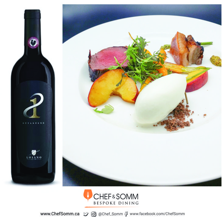 Chef Eyal Liebman's Dish: The Hunter's Fair – Roasted Belly of Wild Boar, Pan-seared Elk, Young Carrots, Yogurt Sorbet and Peaches. Paired with Luiano Ottantuno, Chianti Classico Gran Selezion, Tuscany, Italy 2012, $72.5 More about this pairing on our FB + IG pages