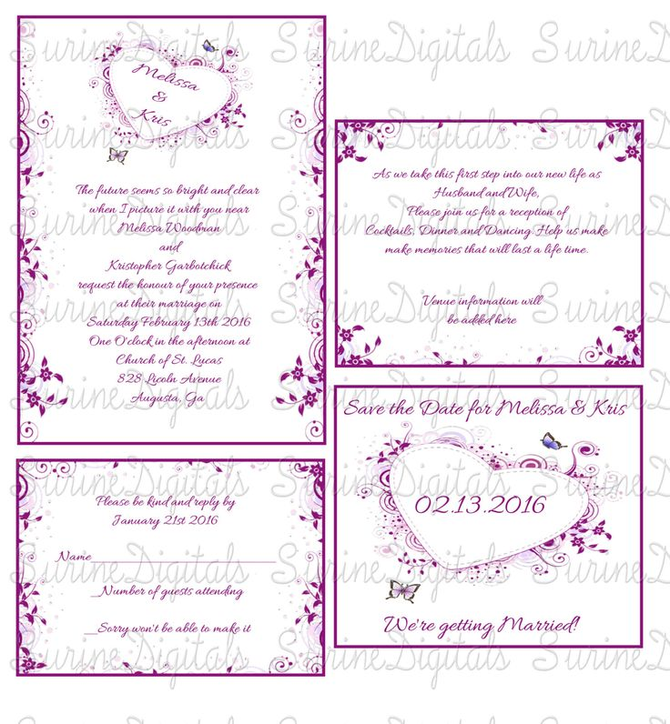 Purple Heart with flowers and butterflies Wedding Invitation Set, Wedding Invitation set w/ Reply, Reception and Save the Date, by SurineDigitals on Etsy