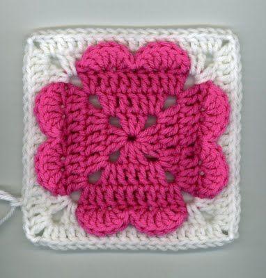 4 heart granny square