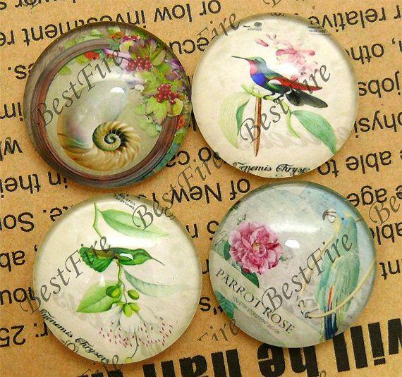 Il 12mm, 14mm, 16mm, 18mm, 20mm, 25mm uccello di fiore rotondo Mix cabochon di vetro, gioielli cabochon trovando stile cinese di perline, cabochon di vetro, - 08