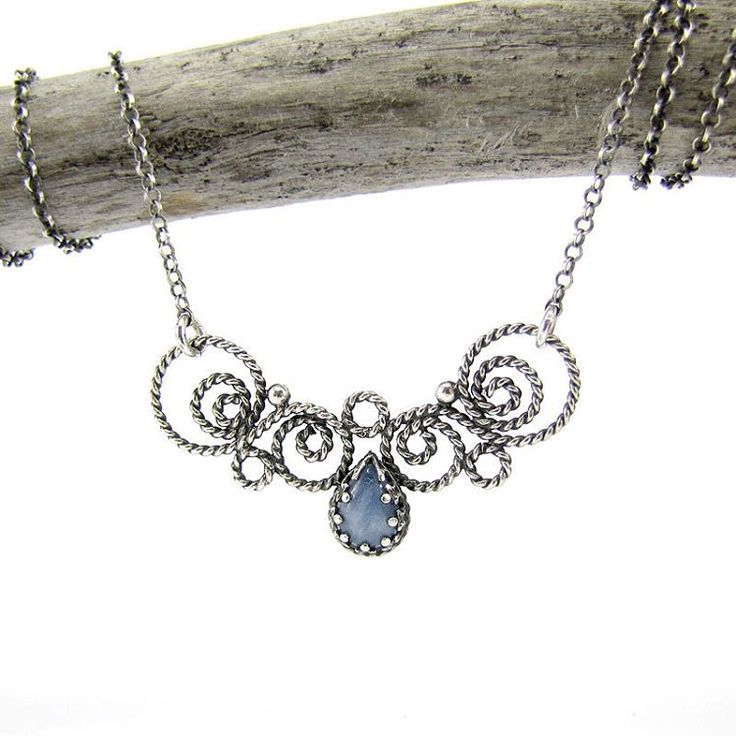 Sterling silver necklace with kianite. #silverjewelry #filigree #necklace #silverart