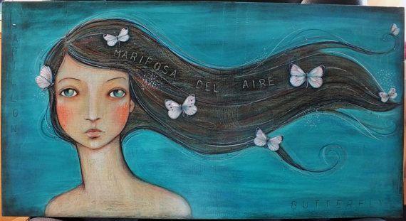 "OOAK Original Folk Art Woman ""Mariposa del Aire"" acrylic colored pencil A. Kennedy Aqua butterfly"