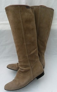 RUSSELL & BROMLEY Light Brown Suede Flat Knee boots