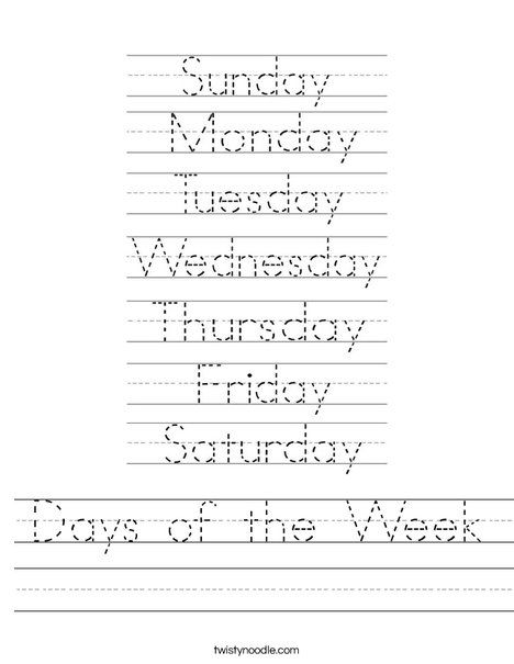 Days of the Week Worksheet from TwistyNoodle.com This site has tons of printable worksheets, colouring pages, and word family booklets