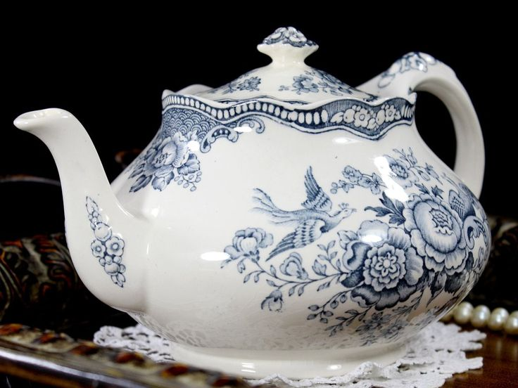 Crown Ducal Bristol Grey / Blue Transferware Teapot Tea Pot Made in England 12766 - The Vintage Teacup - 1