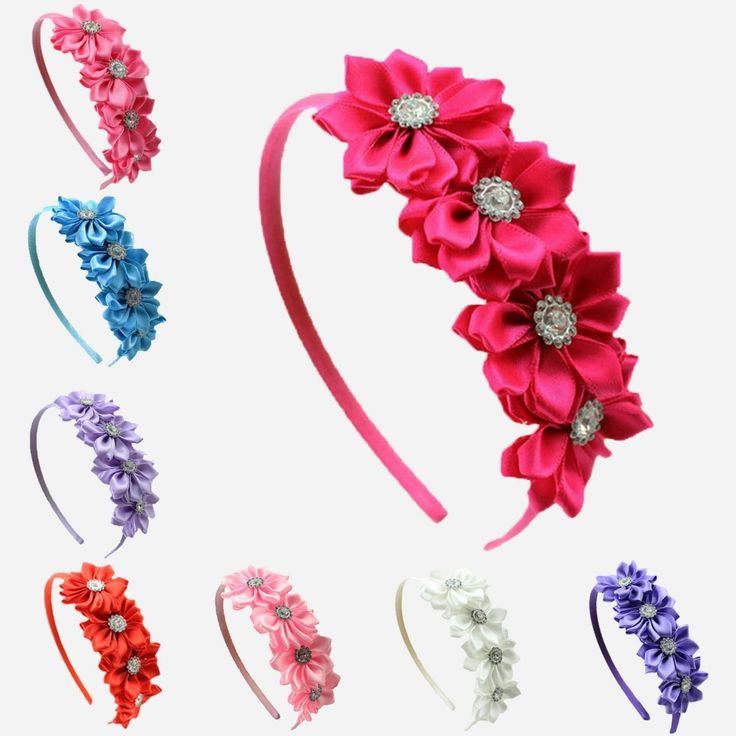 1 pcs Satin Ribbon Flower rhinestone baby girl hair flower band Korean style princess headband children hair accessories