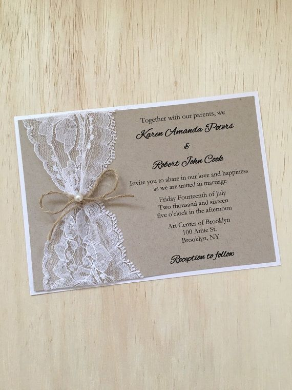 Rustic wedding invitation,, lace wedding invitation, twine pearl wedding invitation, rustic lace invitation, kraft invitation