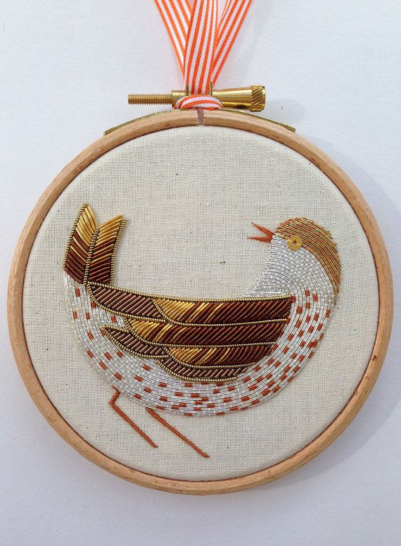 Metalwork Embroidery Song Thrush Kit by BeckyHoggEmbroidery