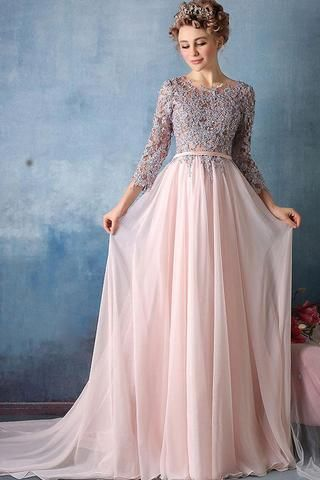 Scoop A-line Pink Chiffon with Silver Lace Appliqued Long 3/4 Sleeves Prom Dresses uk PM311