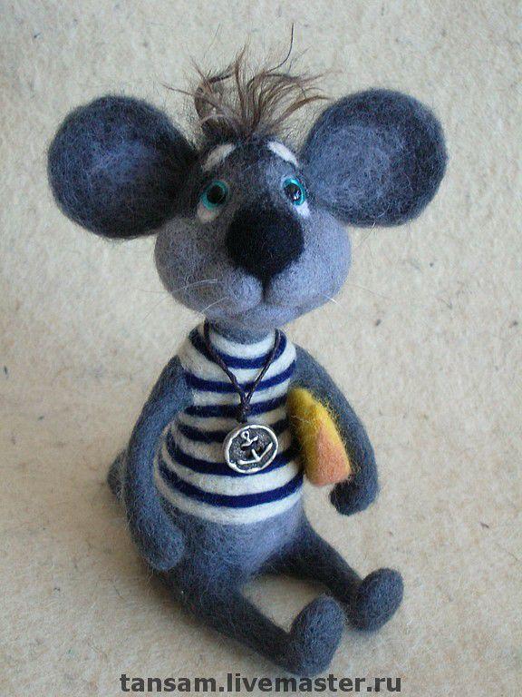 Купить Мышонок Джеймс Браун - авторская игрушка, войлок, валяная игрушка, мышонок, моряк, шерсть