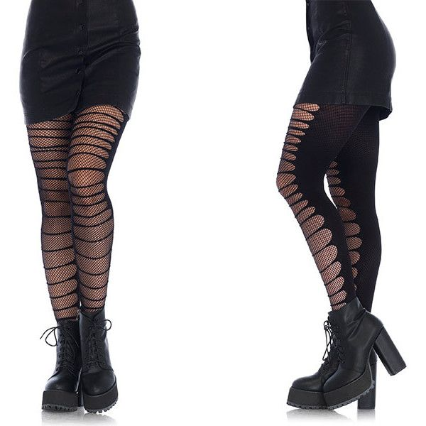 Women's Leg Avenue Grunge-Style HosieryDouble-Layer Shredded Spandex... ($7.99) ❤ liked on Polyvore featuring intimates, hosiery, shoes, black, socks & hosiery, fishnet hosiery, leg avenue, lycra stockings, layered tights and spandex tights