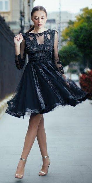 CRISTALLINI #BlackDress #Sequins #CocktailDress #GlamourStyle