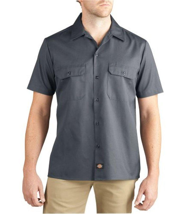 Dickies mens slim fit short sleeve work shirt charcoal