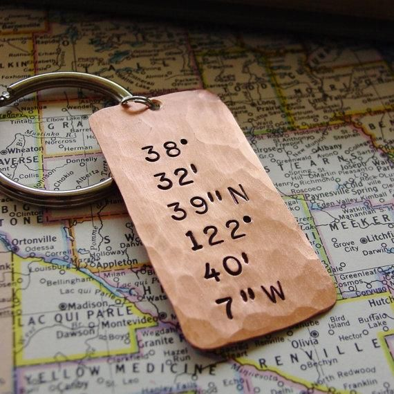 Latitude Longitude Coordinates Keychain in Copper. Mark your special location on the globe! Copper Anniversary Gift, Husband Copper Anniversary, Husband Copper Gift, Seventh Anniversary, 7th Anniversary, Seventh Copper Anniversary