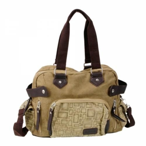 Hand/Shoulder Strap  Khaki Messenger Bag  When you look at this fashionable bag, you see contrast, design, and lots of pockets for everything! You can use it every day for classes, shopping, day trips, etc. The canvas is made for long wear, and features other quality materials. The strong shoulder and hand straps...