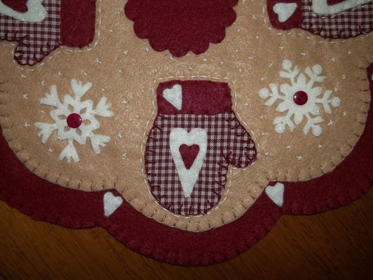 primitive mittens and snowflakes penny rug candle mat wfs