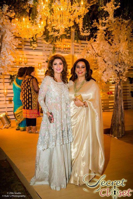 Mina Hasan at her daughter's wedding in her own design