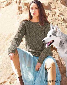 свитер с арановым узором