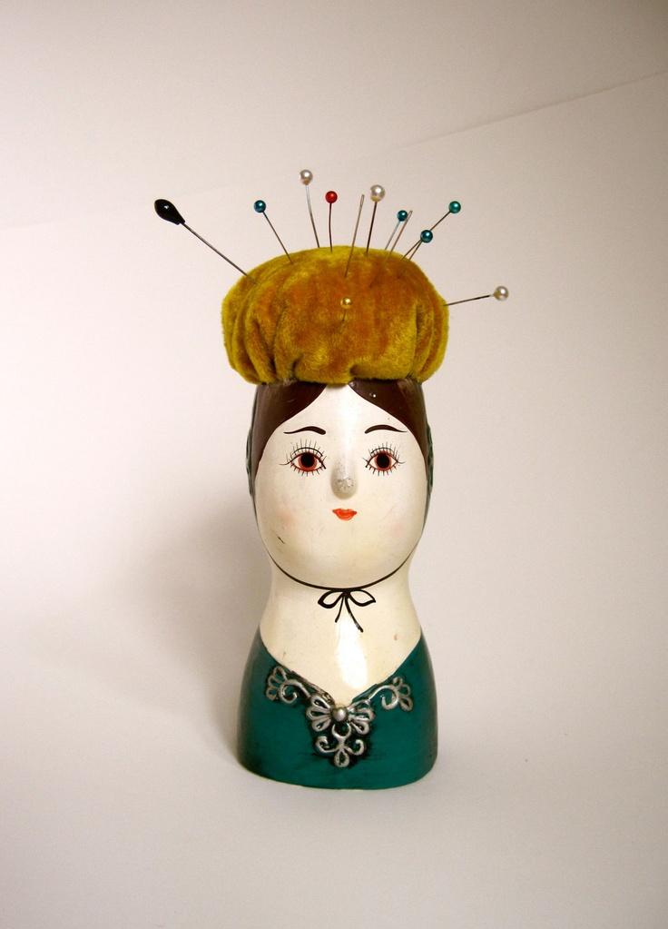 Vintage Japan Pin Cushion Lady Head