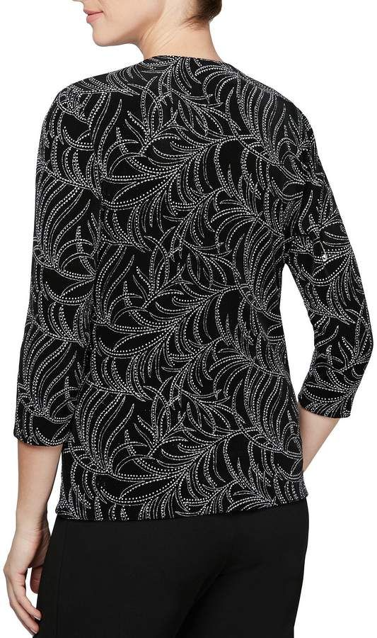 aed3e1d10ea Alex Evenings Printed Glitter Knit Twinset Top  Printed Evenings Alex