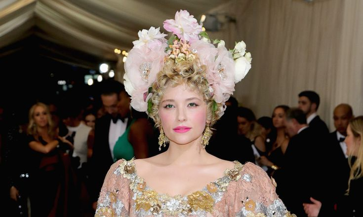 Met Gala 2017 Best Celebrity Beauty Looks: oh, we'd love to see everyone wearing *this* kind of flower crown to Coachella. Hayley Bennett looks great. -- flower crown and hot pink lipstick. | coveteur.com