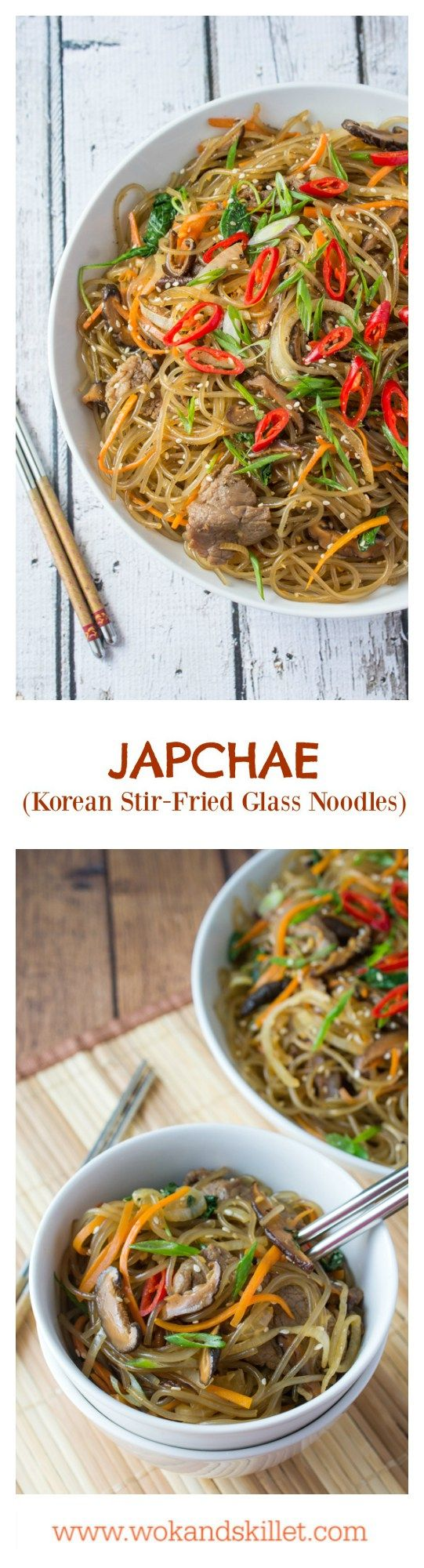 Japchae is a classic Korean dish that can be served as a side, main dish, or over rice. Stir-fried glass noodles with sliced beef, julienned carrots, vegetables and mushrooms, tossed in a sweet soy sauce dressing.