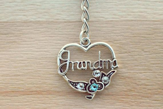Grandma Keychain - Birthstone Keychain - Silver Keychain - Gifts For Grandma - Mothers Day Gift