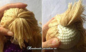 Как сделать волосы куколке амигуруми (11)