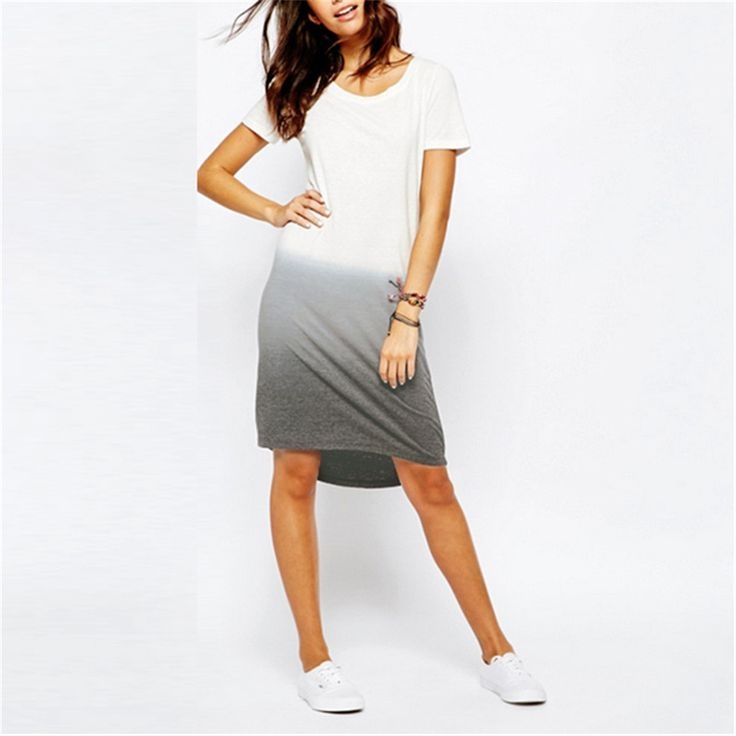 Summer Style 2016 Casual T shirt Dress New Stylish Short Sleeve O-neck Loose Gradient Color Dovetail Dresses Plus Size vestidos