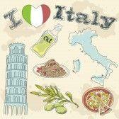 Italia viaje grunge tarjeta con la comida nacional italiana, lugares de interés, mapa y la bandera stock photography