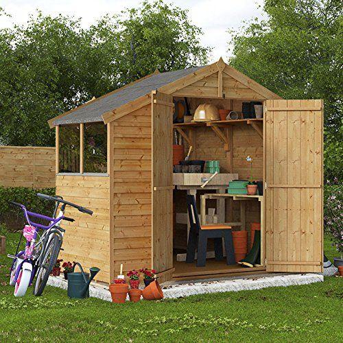 4x8 Overlap Wooden Shed Windowed Double Door Apex Roof & Felt Garden Sheds 4FT 8FT---265---