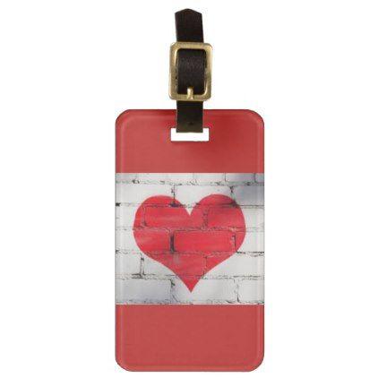#HEART GRAFFITI ON A WALL LUGGAGE TAG - #luggage #tags