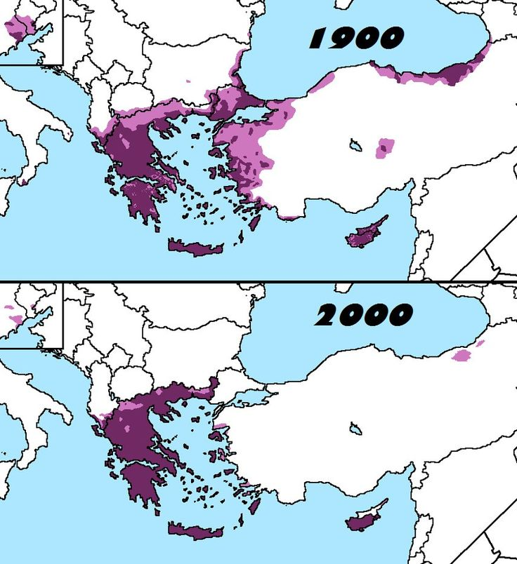 Distribution of Greeks in 1900 and 2000
