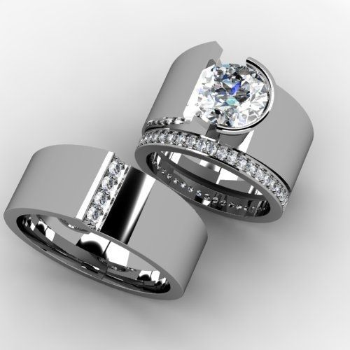 Custom Made Custom Wedding Band Set ~ too wide for me, but they're cool!