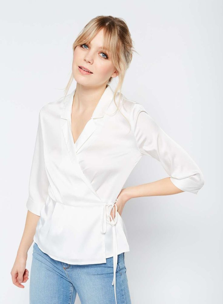 Ivory Wrap Front Satin Blouse - Tops - Clothing - Miss Selfridge