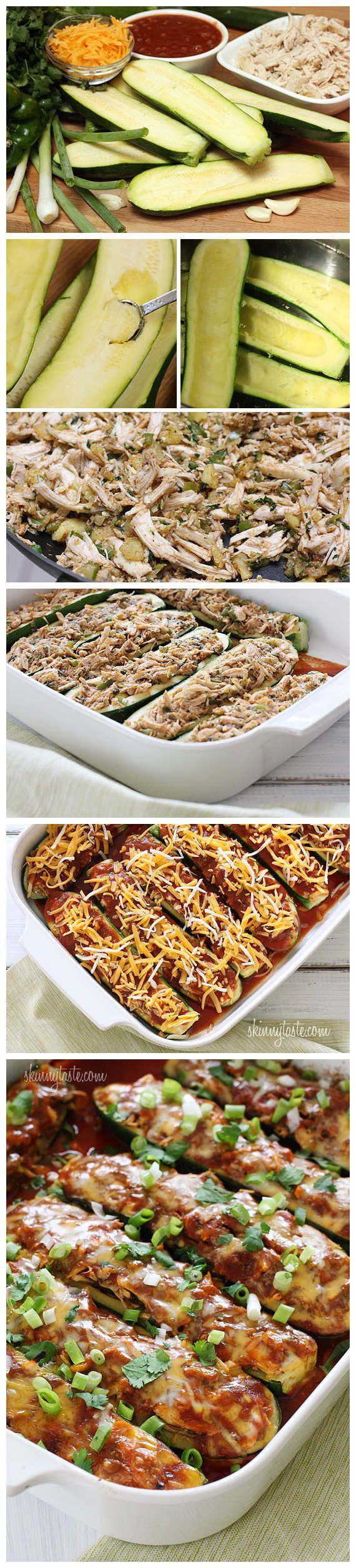 Chicken Enchilada Stuffed Zucchini Boats....a must try.