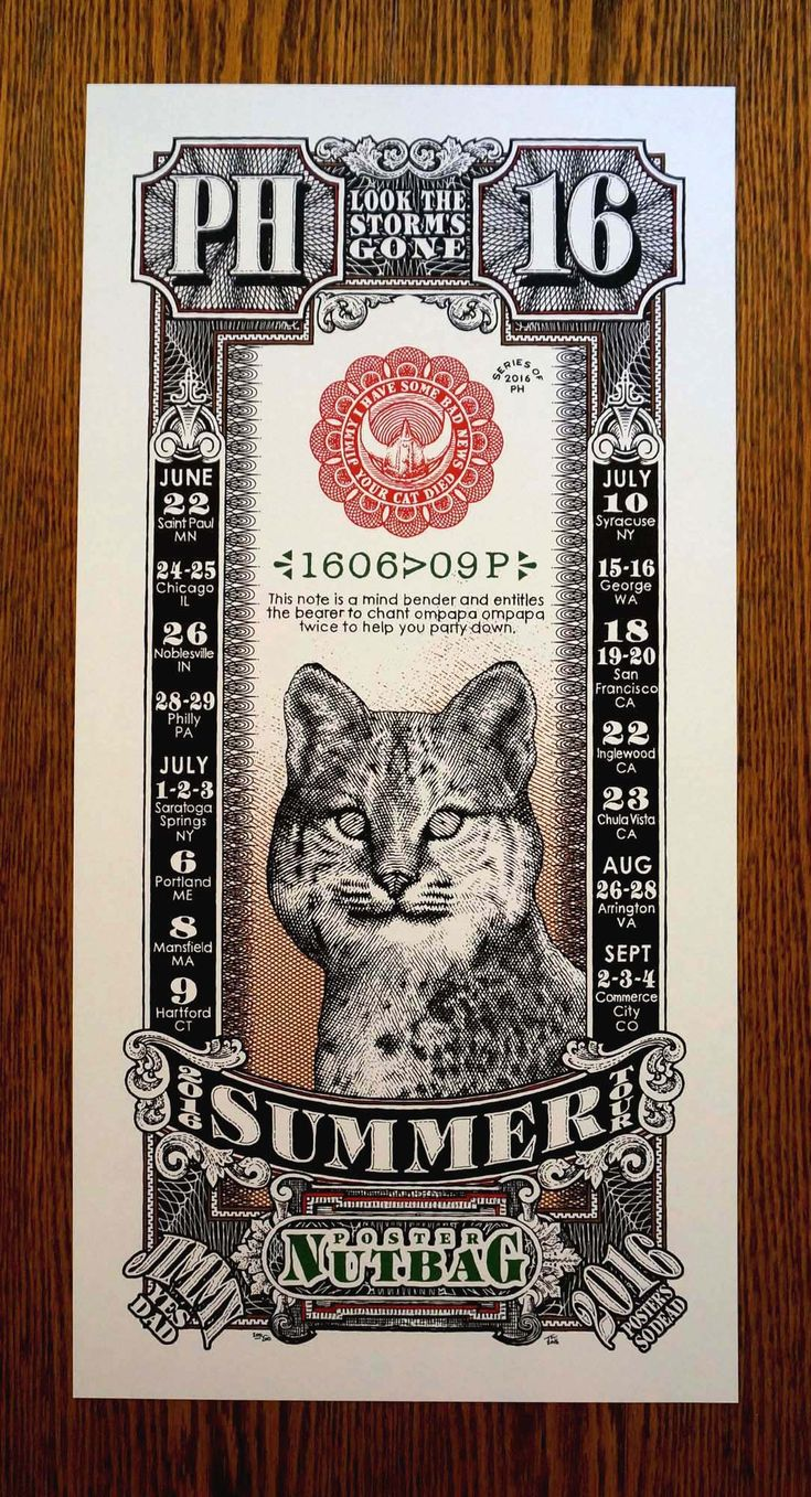 "Phish POSTER+NUTBAG 2016+Summer+Tour+Print -+12""+x+24""+lithograph+print -+100lb+natural+cream+stock -+hand-numbered+and+signed -+edition+series+200 -+free+shipping -+includes+all+the+summer+2016+dates+and+fully+inspired+from+the+classic+Phish+rarity!"