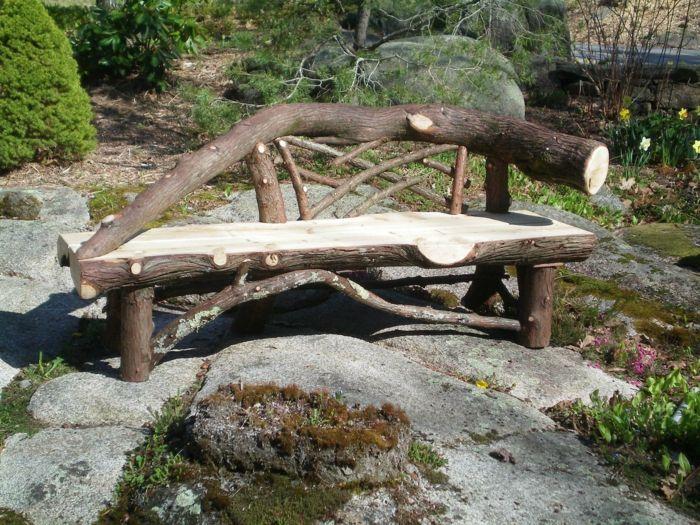 Rustikale Gartenmöbel Gartenbank Holz Gartensteine