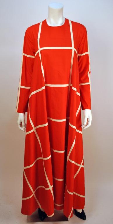 Vintage Vuokko graphic print red and white checkered maxi dress 1960's