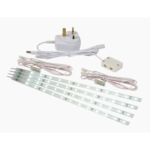43786 Chop White LED Strip Light - Set of 4 LED strips, with white LEDS, the sticky adhesive make this ideal for under shelf lighting o