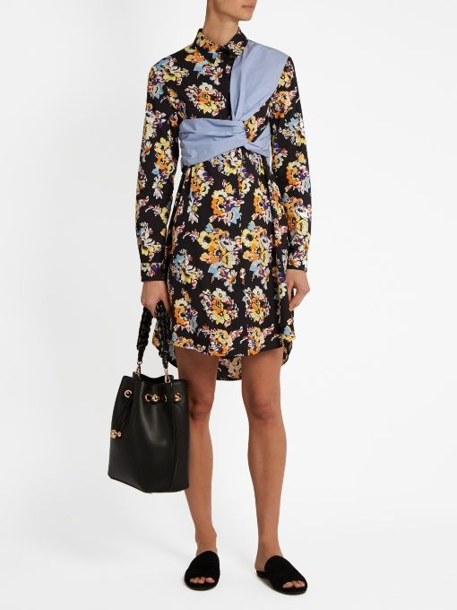 Find Msgm Floral-print Twisted-panel Cotton Shirtdress Only at Modalist