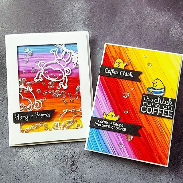 Today there is the 'Sketch and Color Challenge #66' on the @yournextstamp Blog You find the direct link in my profile. Please hop over to the blog for more informations and win awesome prizes. I made two cards using the super sweet 'Monkey Fun' And 'Coffee Chicks' Stamp Sets by @yournextstamp and tried out again the 'Copic coloring on Yupo Paper' technique which @jennifermcguireink showed some days ago. Have a great weekend! 💛💖💙💜💛💖💙💜💛💖💙💜💛💖💙💜  #handmade #handmadecards…