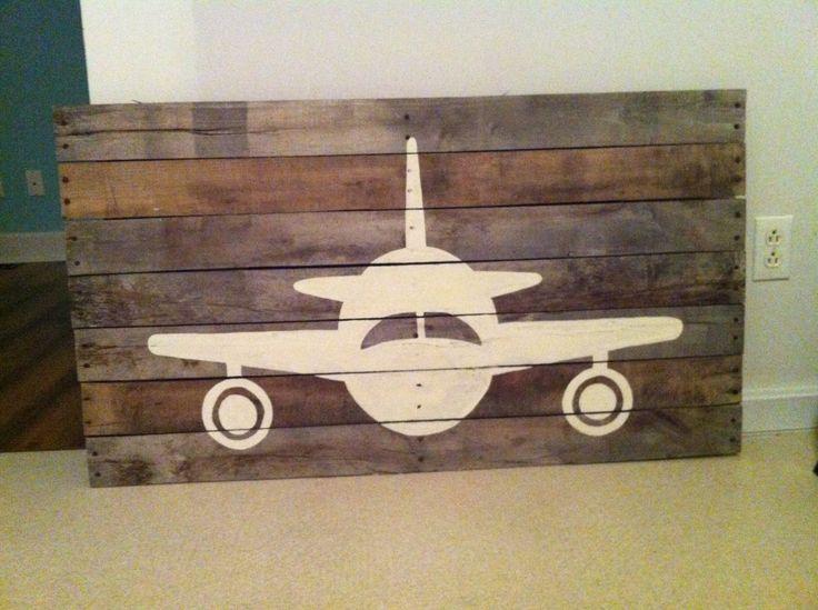 Pallet wood airplane art by Barnettbuilding on Etsy, $55.00