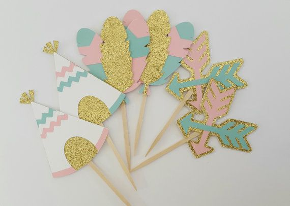 Tribal Cupcake Toppers- Teepee Cupcake Toppers- Wild One Birthday decor - Boho Birthday Cupcake Toppers- Tribal Birthday Cake Toppers Topper