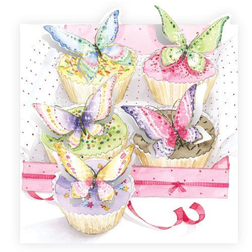 Gorgeous Butterfly Cupcakes Greeting Card LS20 - Buy Online $3.60