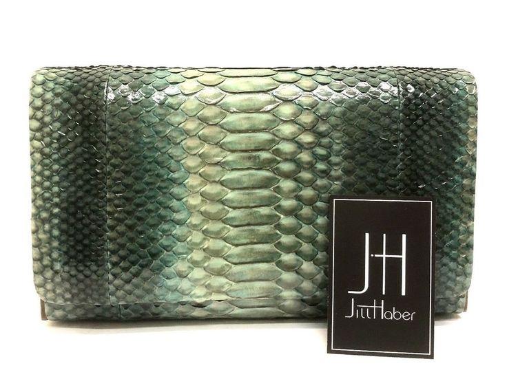 Jill Haber Dark Green Snake Skin Ethan Wrap Magnetic Close Clutch Handbag #JillHaber #Clutch