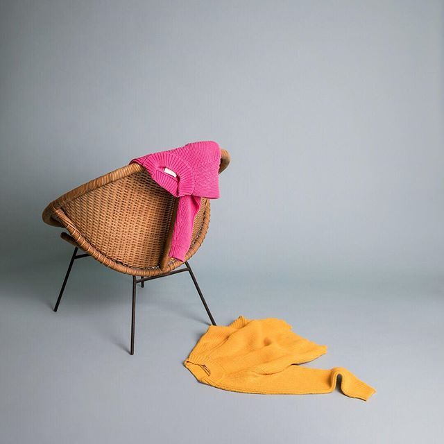 Anybody else have a 'clothing chair' in their house!? Here's a good-looking one featuring our FOR THE LADIES cotton/linen sweater in OBUS PINK or SAFFRON instore and online now. #obus #obusclothing #obusfortheladies #autumn #autumnfashion #aw18 #melbournefashion #cottonsweater #mustard #yellowknit #yellow #obuslovespink #colour #yellowsweater #knitwear #buywellbuyonce #twentyyearsofobus