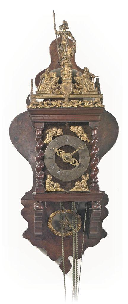 A Dutch Brass Mounted Rosewood Wall Clock Zaanse